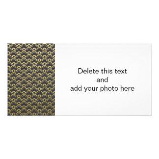 Gold Foil Black Scalloped Shells Pattern Customised Photo Card