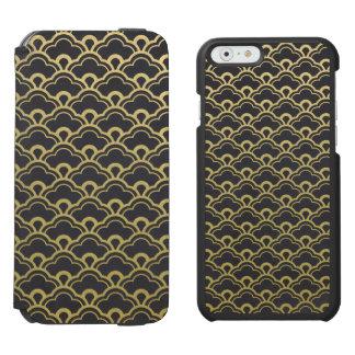 Gold Foil Black Scalloped Shells Pattern Incipio Watson™ iPhone 6 Wallet Case