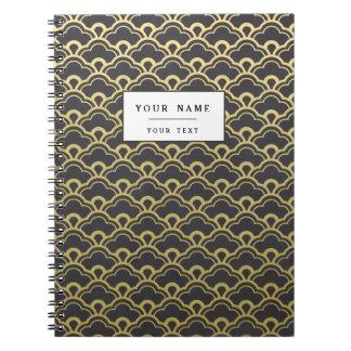 Gold Foil Black Scalloped Shells Pattern Spiral Notebooks