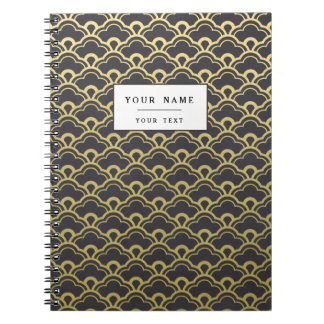 Gold Foil Black Scalloped Shells Pattern Spiral Notebooks