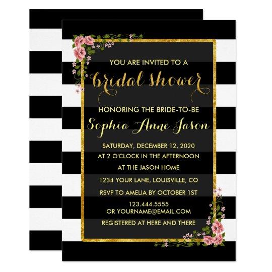 Gold Foil Black Stripes Bridal Shower Invite