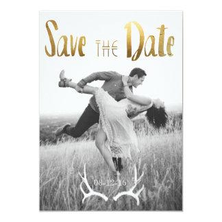 Gold Foil Bohemian Glamour   Photo Save the Date 13 Cm X 18 Cm Invitation Card