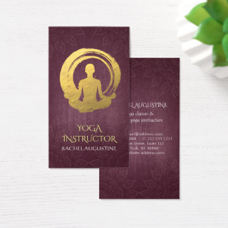 Gold Foil Calligraphy Yoga Meditation & ZEN Symbol Business Card