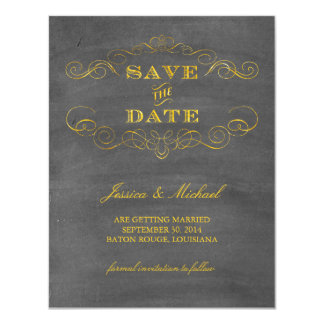 Gold Foil Chalkboard Save the Date 11 Cm X 14 Cm Invitation Card