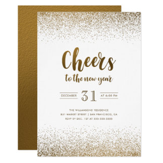 Gold Foil Cheers To The New Year Holiday Party Card