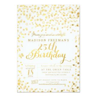 """Gold Foil Confetti Birthday Party 5"""" X 7"""" Invitation Card"""