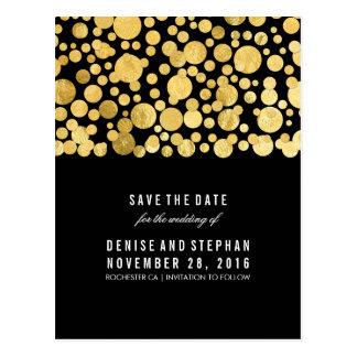 Gold Foil Confetti Black Save the Date Postcard