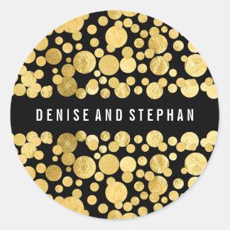 Gold Foil Confetti Black Wedding Round Sticker