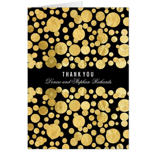 Gold Foil Confetti Black Wedding Thank You Cards