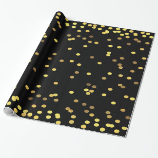 Gold Foil Confetti Black Wrapping Paper