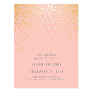 gold foil confetti blush pink save the date postcard
