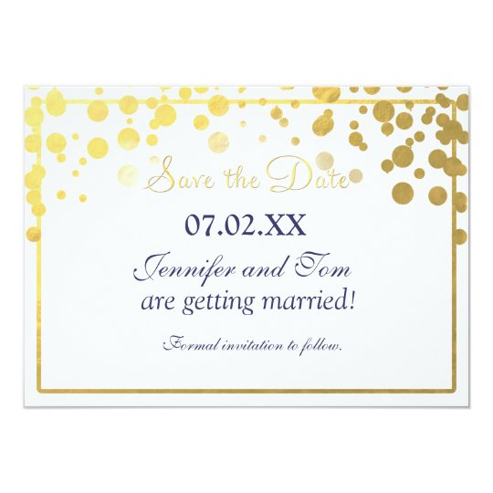 Gold Foil Confetti Dots Invitation Save date Card
