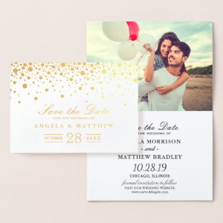 Gold Foil Confetti Dots Wedding Save the Date Foil Card