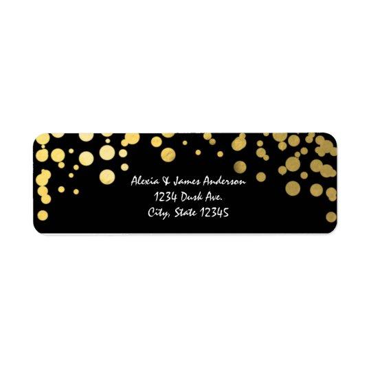 Gold Foil Confetti Elegant Black Address Labels