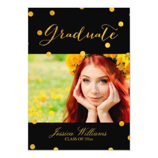 Gold Foil Confetti Graduation Party 13 Cm X 18 Cm Invitation Card