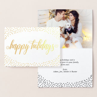 Gold Foil Confetti - Happy Holidays Photo Foil Card