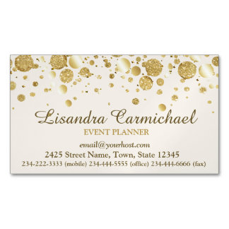 Gold Foil Confetti On White Magnetic Business Card Magnetic Business Cards