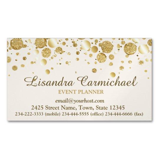 Gold Foil Confetti White Magnetic Business Card