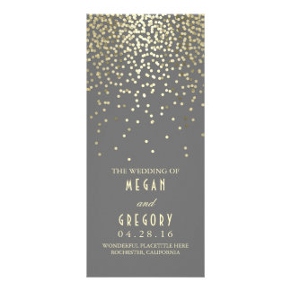 Gold Foil Confetti Wedding Programs Full Color Rack Card