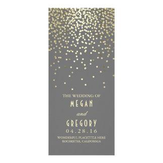 Gold Foil Confetti Wedding Programs Full Color Rack Card