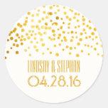 Gold Foil Confetti Wedding Round Sticker
