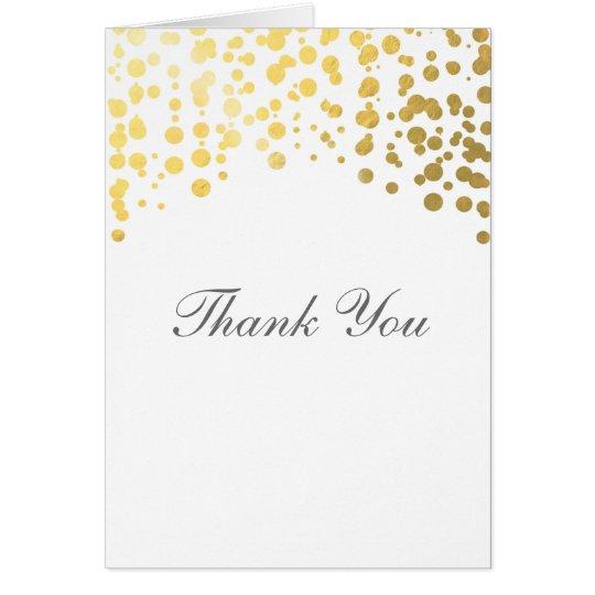 Gold Foil Confetti Wedding Thank You Fold Card