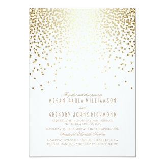 Gold Foil Effect Confetti Art Deco Wedding 13 Cm X 18 Cm Invitation Card