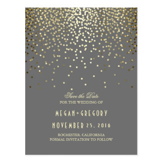 gold foil effect confetti elegant save the date postcard