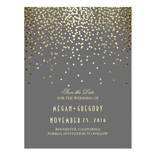 gold foil effect confetti elegant save the date