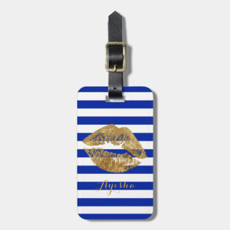 Gold Foil Effect Kiss Monogram Luggage Tag