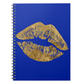 Gold Foil Effect Kiss Spiral Notebook
