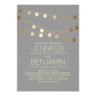 Gold Foil Effect String Lights Wedding 13 Cm X 18 Cm Invitation Card