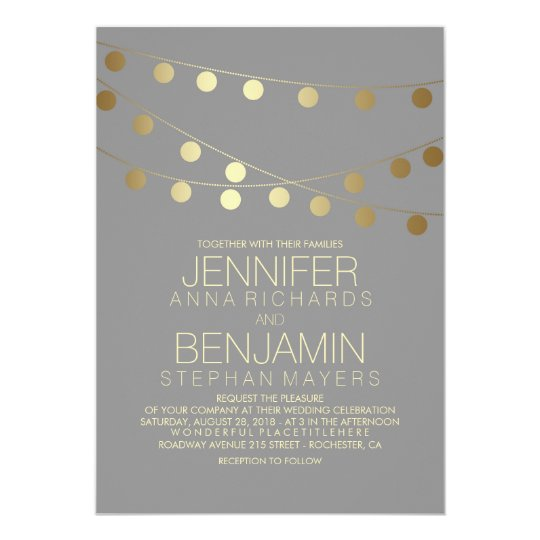 Gold Foil Effect String Lights Wedding Card