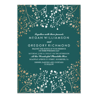 Gold Foil Effect Teal Baby's Breath Wedding Card