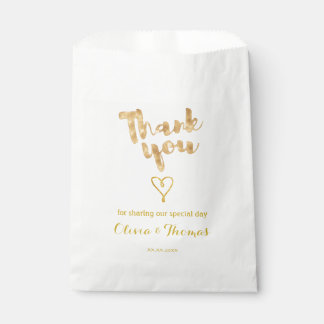 gold foil effect thank you calligraphy favour bags