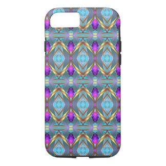Gold Foil Effect Trippy Kaleidoscope Purple Gems iPhone 7 Case