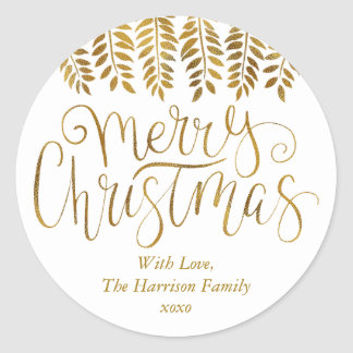 Gold Foil Effect Typography Merry Christmas Classic Round Sticker