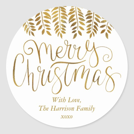 Gold Foil Effect Typography Merry Christmas Classic Round