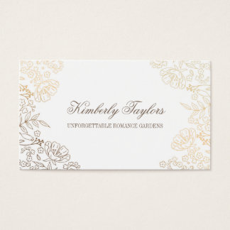 Gold Foil Effect Vintage Floral White Elegant Business Card