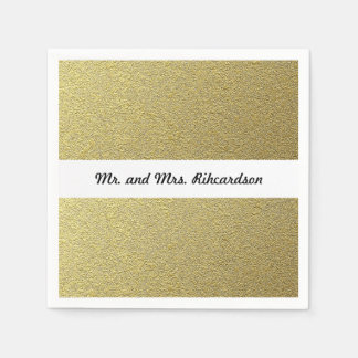 Gold Foil Effect Wedding Disposable Serviette