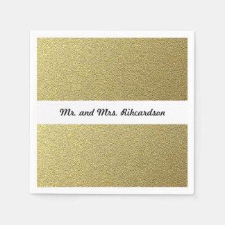 Gold Foil Effect Wedding Paper Napkin