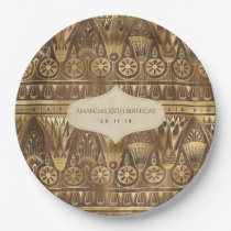Gold Foil Egyptian Themed Party Paper Plate