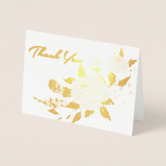 Gold Foil Floral Wedding All-Purpose Thank You Foil Card