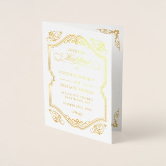 Gold Foil Flourish Frame Wedding Ceremony Program