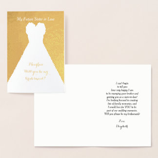 Gold Foil Future Sister in Law Bridesmaid Poem Foil Card