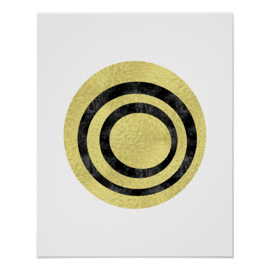 Gold foil geometric art Circle art Modern art