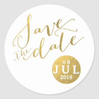 Gold Foil Glamor Date | Save the Date Stickers