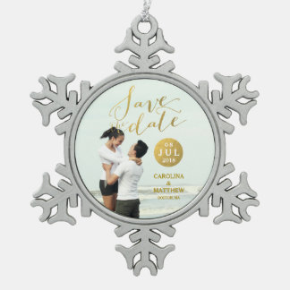 Gold Foil Glamor | Photo Save the Date Holiday Pewter Snowflake Decoration
