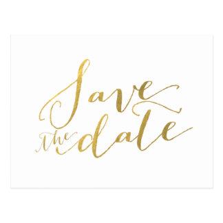 Gold Foil Glamor | Save the Date Postcard