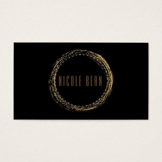 Gold Foil Glamour Circle Black Business Card